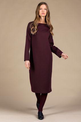Платье MAYBE плотный трикотаж гранат с длинным рукавом (42-44)