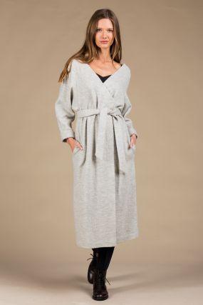 Платье-кардиган Черешня из вареной шерсти с открытыми плечами на запахе светло-серое (38-42)