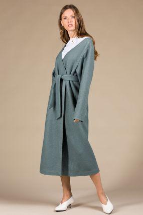 Платье-кардиган Черешня из вареной шерсти с открытыми плечами на запахе мятное (42-46)