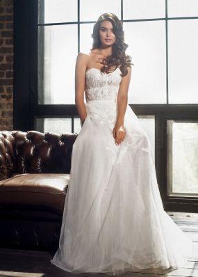 Полупрозрачное свадебное платье с корсетом K17100840X
