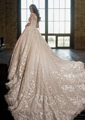 Кружевное свадебное платье с шлейфом и длинными рукавами K17101461Z
