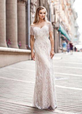 Прямое свадебное платье с бисером ZVT049