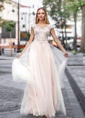 Свадебное платье из кружева и фатина ZVT047