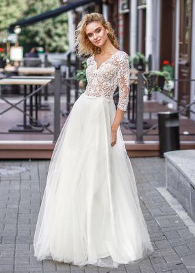 Свадебное платье с кружевными рукавами ZVT048