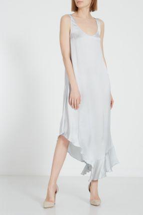 Серое платье с асимметричным низом