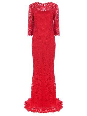 Платье кружевное в пол
