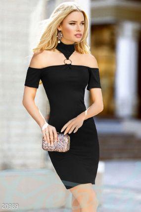 Облегающее платье в рубчик