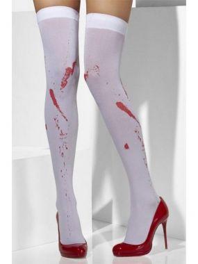 Чулки с имитацией пятен крови Кровавая Мэри (Fever) – белый с красным