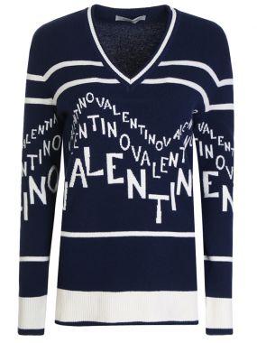 Пуловер шерстяной с принтом