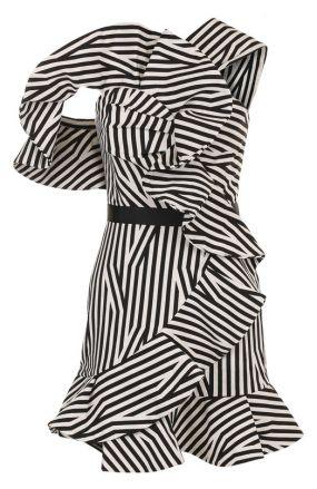 Приталенное мини-платье с драпировкой и оборками self-portrait