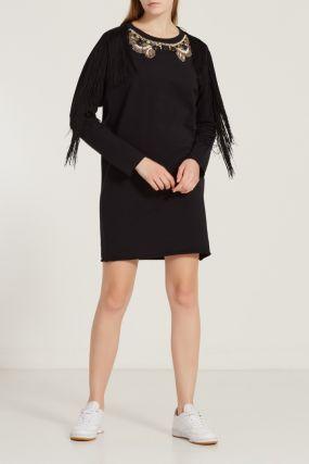 Мини-платье с бахромой и аппликацией