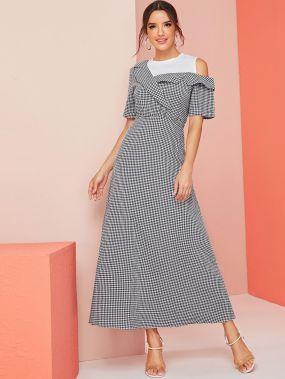 Платье в клетку на одно плечо