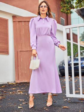 Платье на пуговицах с пышными рукавами