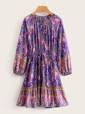 Платье на кулиске с цветочным принтом