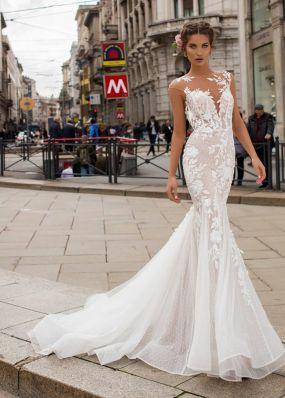 Свадебное платье из цветочного кружева TarikEdiz ZTZ037