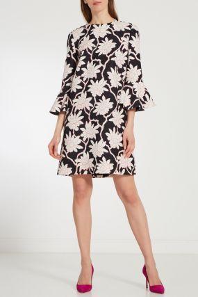Платье с контрастным цветочным принтом