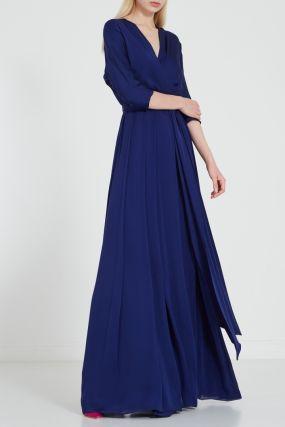 Синее платье-макси из шелка