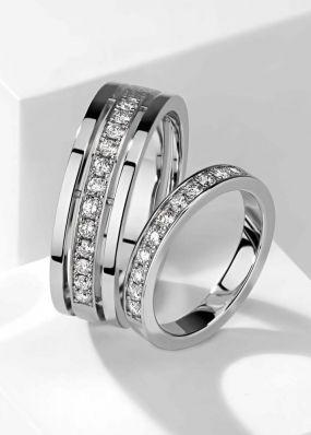 Обручальные кольца из белого золота BENDES 3062