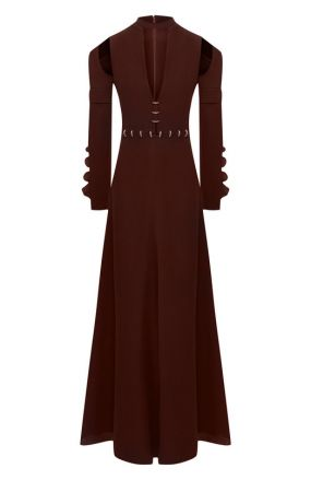 Платье-макси с глубоким вырезом и декоративной отделкой Chloé