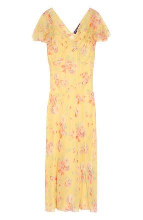 Шелковое платье-миди с цветочным принтом Ralph Lauren