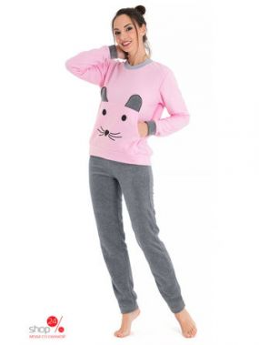 Комплект: свитшот, брюки Tenerezza, цвет розовый, серый