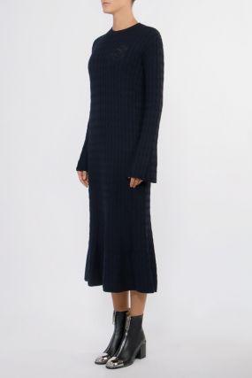 Шерстяное темно-синее платье