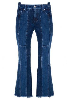 Синие джинсы пэчворк