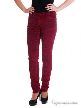 Узкие вельветовые джинсы, длина 32 Million X Woman, цвет бордовый