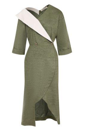 Приталенное платье-миди с открытым плечом Tata Naka