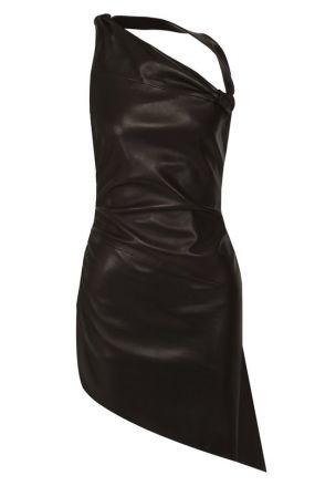 Приталенное кожаное мини-платье асимметричного кроя Saint Laurent