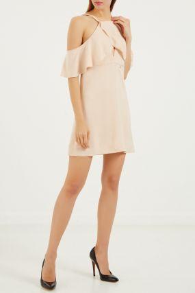 Платье мини телесного цвета с воланами