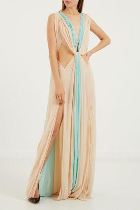 Двухцветное платье макси