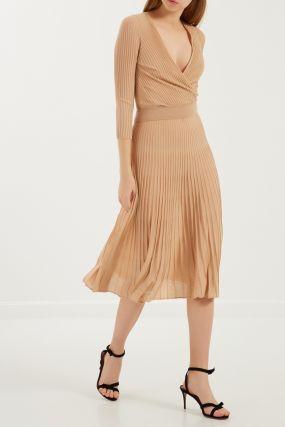 Плиссированное трикотажное платье