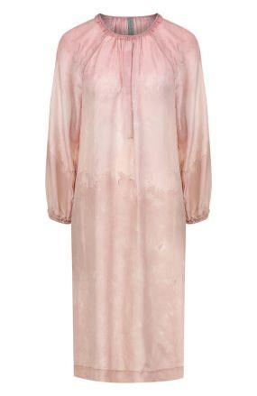Шелковое платье свободного кроя с круглым вырезом Raquel Allegra