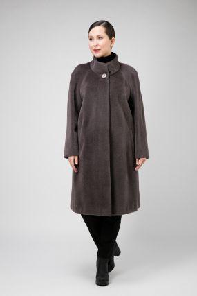 Расклешенное пальто на большой размер из сури альпака
