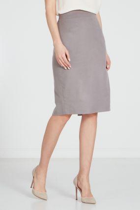 Бежево-серая юбка-карандаш