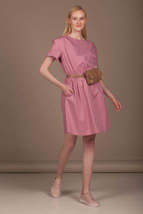 Платье Черешня мини в горошек розового цвета (40-42)