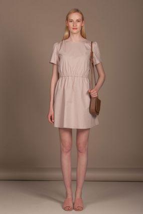Платье Черешня мини в горошек песочного цвета (40-42)