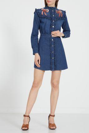 Джинсовое платье с рюшами и пайетками