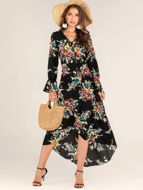 Асимметричное платье с v-образным вырезом и цветочным принтом