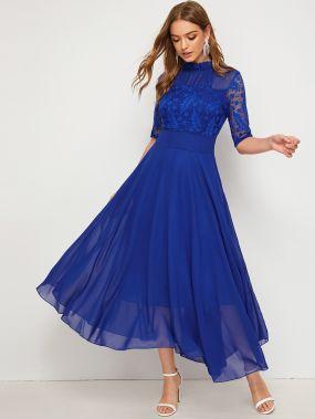 Сетчатое платье с кружевной вставкой
