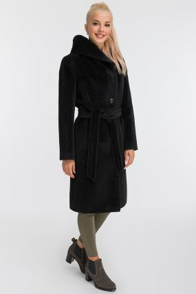 Длинное пальто из альпака с капюшоном