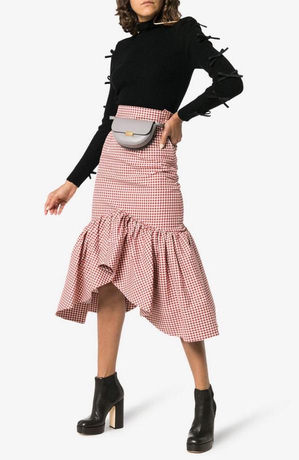 юбка в клетку с оборками фото